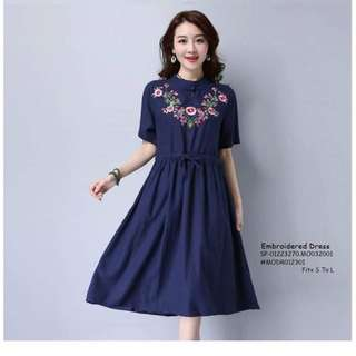 Embroidered dress fits S-L