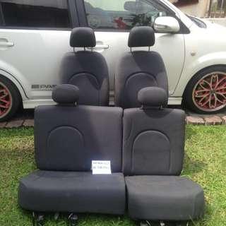 Seat Passo Hitam Silver dot headrest petak for Myvi