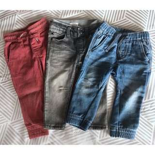 3x Boys denim jeans size 2