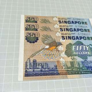 Singapore bird series $50 3 runs