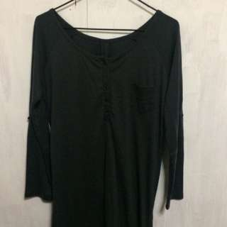 深藍色棉質連身裙(75%new)