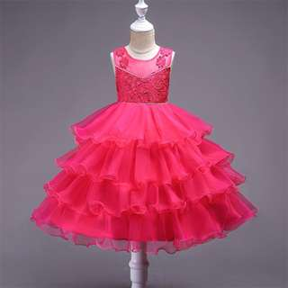 Pretty Flower Belted Sequin layered Sleeveless Chiffon Dress Pink