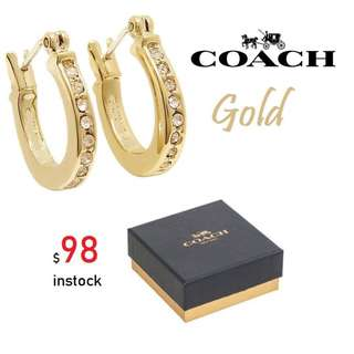 READY STOCK SG - BRAND NEW - AUTHENTIC Coach Pave Signature C w/Crystal Huggie GOLD TONE Earrings - F54497