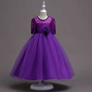 Classic Quarter Sleeve Lace Long Evening Flowery Girl Dress Purple