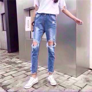 Distressed Ripped jeans denim