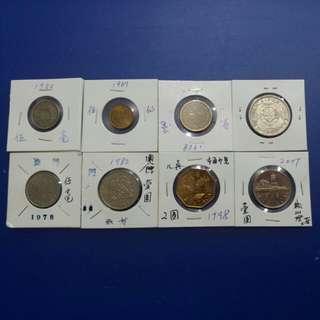 澳門回歸前出硬幣由1952年至1998年有5仙,5毫,1元,贰元,共8個,直得收藏