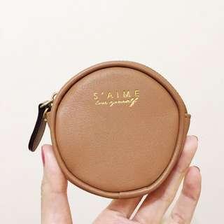 Saime 東京企劃9.5成新!真皮駝色 奶茶色 咖啡色零錢包
