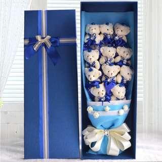 DIAMOND BEAR BOUQUET - BLUE