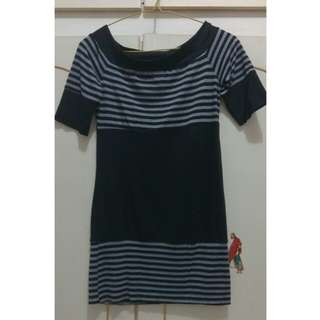 Dress press body stripes hitam abu abu