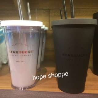 Original Starbucks Tumbler Cold To Go Cup Seattle Black Doff White Asli