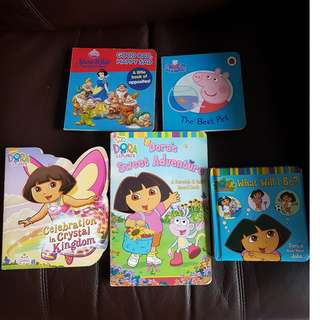 USED Preschool reading board books Dora the Explorer Snow White book of opposites  Peppa Pig book Dora what will I be