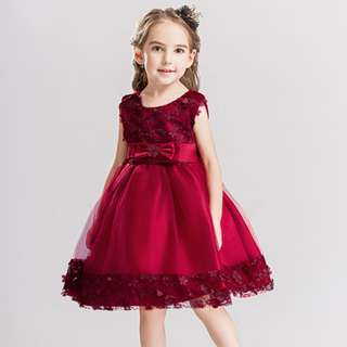 Pretty Rose Girl Dress Wedding Evening Gown Maroon