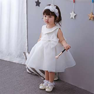Baby Dress Big Ribbon Collar Princess Birthday Dress 3M-24M