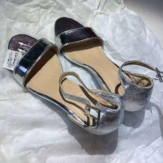 BNWT silver sandal wedges
