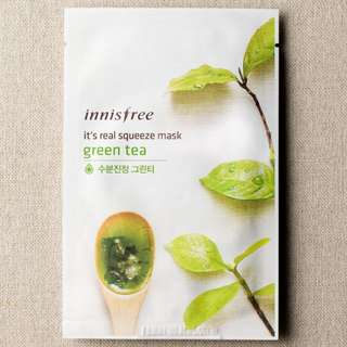 $1.30 ❤️INSTOCKS❤️ Innisfree Its Real Squeeze Mask [Green Tea🍵]