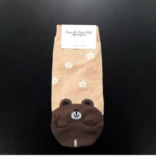 Cute Korean socks - LINE - Brown (Bear)