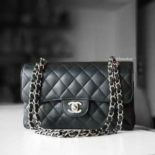 Authentic Chanel Black Caviar Double Flap WSH