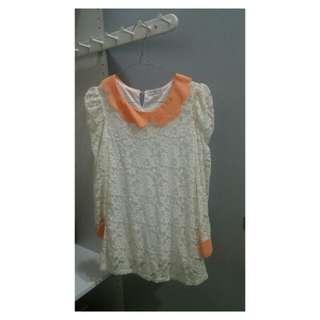 Peach white lace top