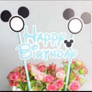 Mickey and Minnie Happy Birthday Cake Topper/ Deco flag