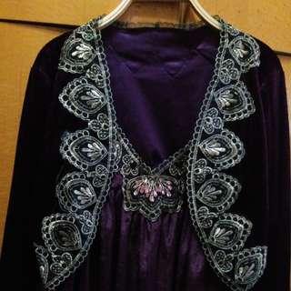 全新 吊帶套裝紫紅色