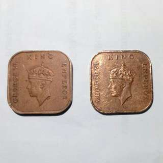 1 CENT Commissioners of Currency Malaya coins