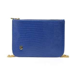 藍色 超薄鱷魚紋斜挎包 單肩包鏈條包手機袋 手袋 信封包