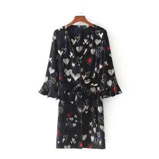 Heart Printed Ribbon Tied Midi Dress