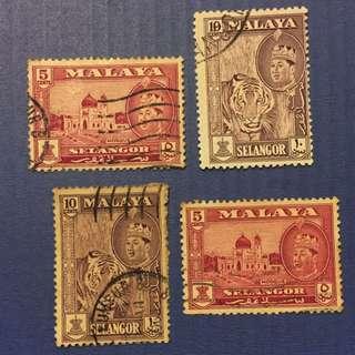 Malaya 1961 Selangor Defi 4V Used (M1094)