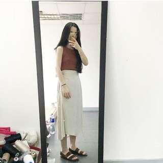 🚚 磚紅綁帶裙