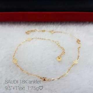 18k Saudi gold anklets