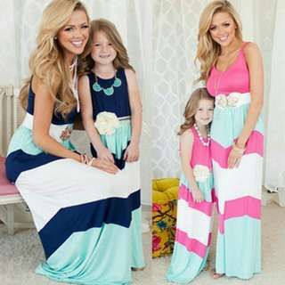 Family Matching Mother Daughter Striped Sleeveless Maxi Long Dresses 2pcs Set .