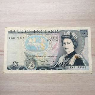 Vintage Bank of England 5 Pounds banknote -1