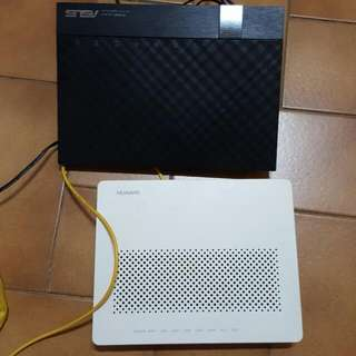 set of 2 asus router huawei ONT used