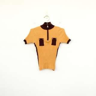 二手 黃色 針織 彈性 上衣