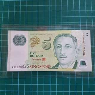 Singapore 🇸🇬 $5  4AS 520025