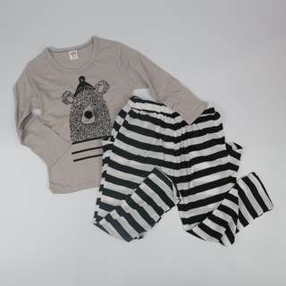 Cute Bear Kids Pyjama Long Sleeve Shirt and Long Pant Set