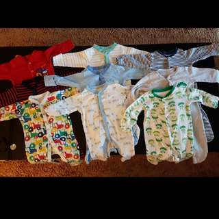 MOTHERCARE Sleepsuits 3-6m (Set of 3x3)