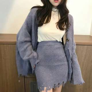 🚚 長板的針織外套+裙子