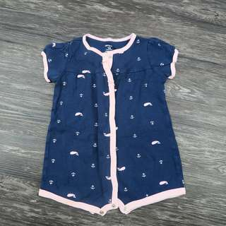 Carters Navy and Pink Whale Romper