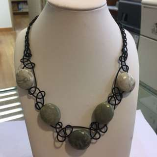 Leather rope with real stone necklace