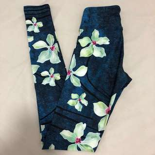 NEW Dharma Bums high waisted full length print workout yoga gym tights leggings emerald green floral size xs