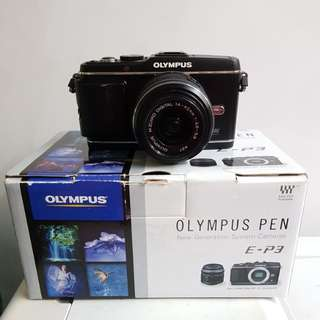 Olympus Pen E-P3 black with 14-42mm lens