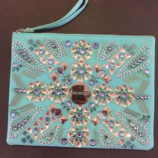Mimco turquoise beaded Clutch bag