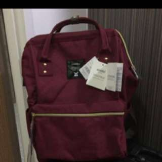 [CNY Special] Authentic 3 Tags And Button Anello Bag Red Wine Color From Japan Big Baby Diaper Bag