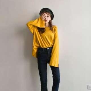 韓製圓領喇叭袖上衣-黃