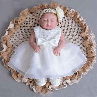 Baby Dress Lace Big Ribbon Princess Birthday Dress 3M-24M