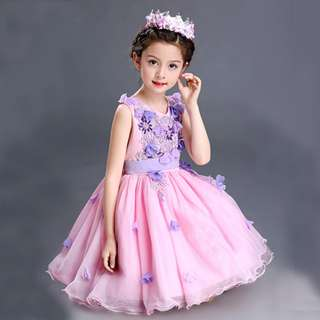 Elegant 3D Flower Soft Fluffy Flower Girl Dress