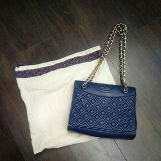 [可交換] Tory Burch Fleming Chain Sling Bag Blue Medium woc 鎖鏈袋