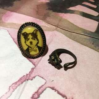 哈士奇 狗 豹 復古戒指