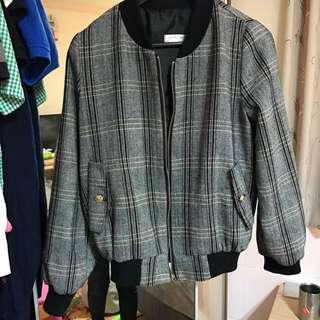 正韓格紋外套